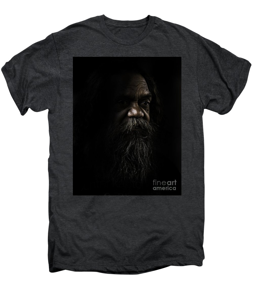 Fullblood Aborigine Men's Premium T-Shirt featuring the photograph Cedric In Shadows by Sheila Smart Fine Art Photography