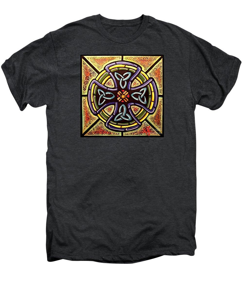 Celtic Men's Premium T-Shirt featuring the painting Celtic Cross 2 by Jim Harris