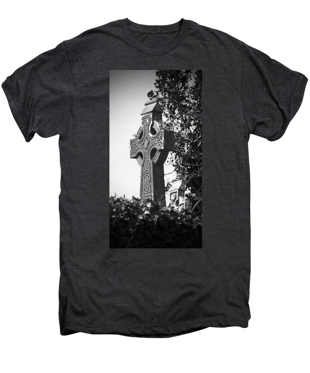 Celtic Men's Premium T-Shirt featuring the photograph Celtic Cross At Fuerty Cemetery Roscommon Ireland by Teresa Mucha