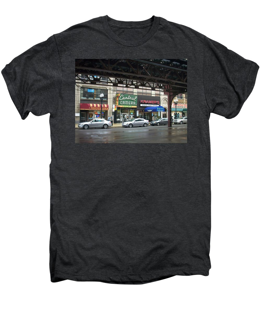Chicago Men's Premium T-Shirt featuring the photograph Central Camera On Wabash Ave by Anita Burgermeister