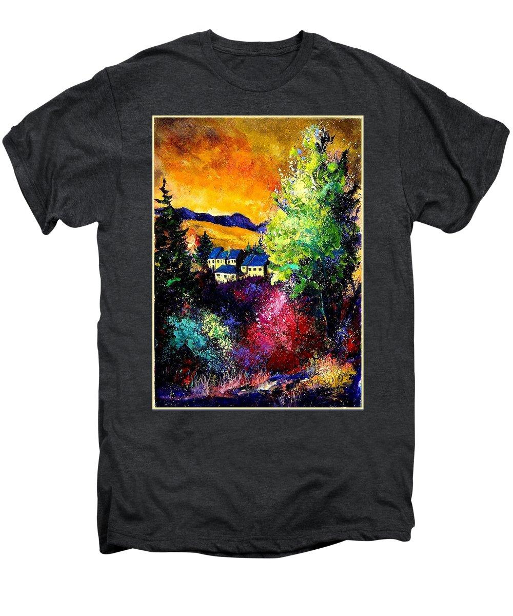 Landscape Men's Premium T-Shirt featuring the painting Charnoy by Pol Ledent
