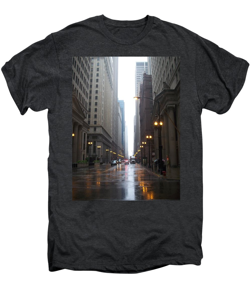 Chicago Men's Premium T-Shirt featuring the photograph Chicago In The Rain 2 by Anita Burgermeister