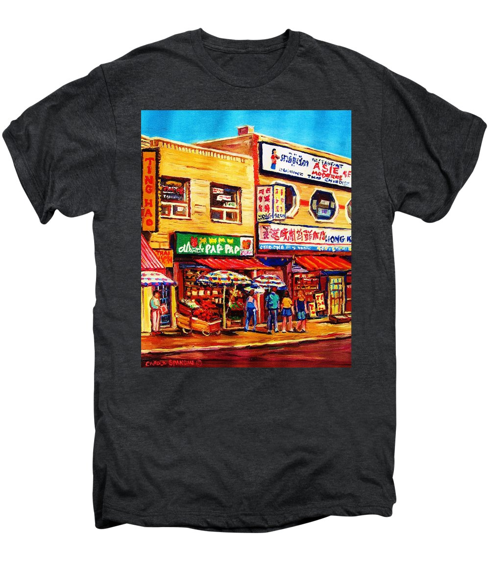 Montreal Men's Premium T-Shirt featuring the painting Chinatown Markets by Carole Spandau