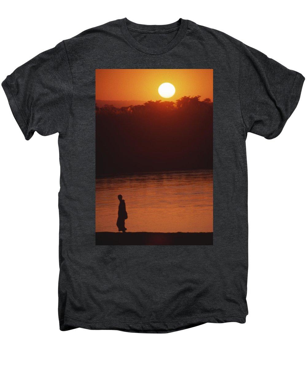 Sunset Men's Premium T-Shirt featuring the photograph Chitwan Sunset by Patrick Klauss