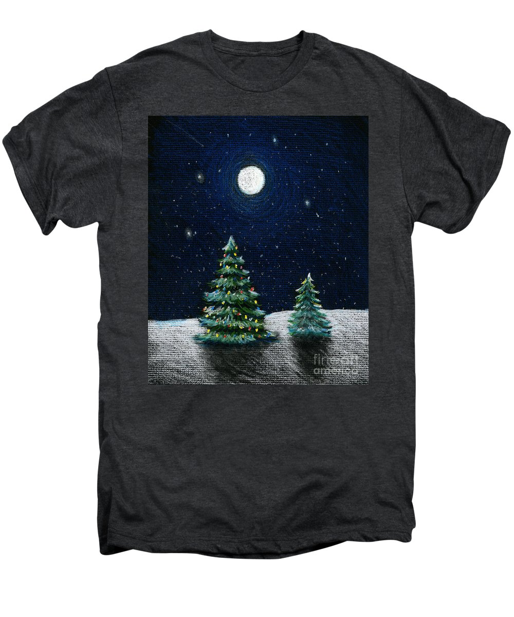 Christmas Trees Men's Premium T-Shirt featuring the drawing Christmas Trees In The Moonlight by Nancy Mueller