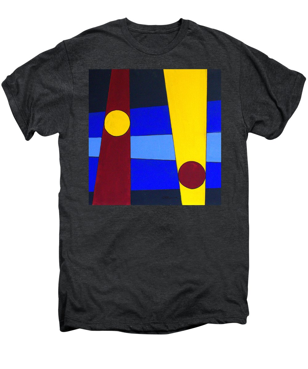 Abstract Men's Premium T-Shirt featuring the painting Circles Lines Color by J R Seymour