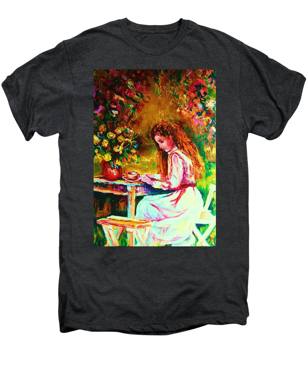 Impressionism Men's Premium T-Shirt featuring the painting Coffee In The Garden by Carole Spandau