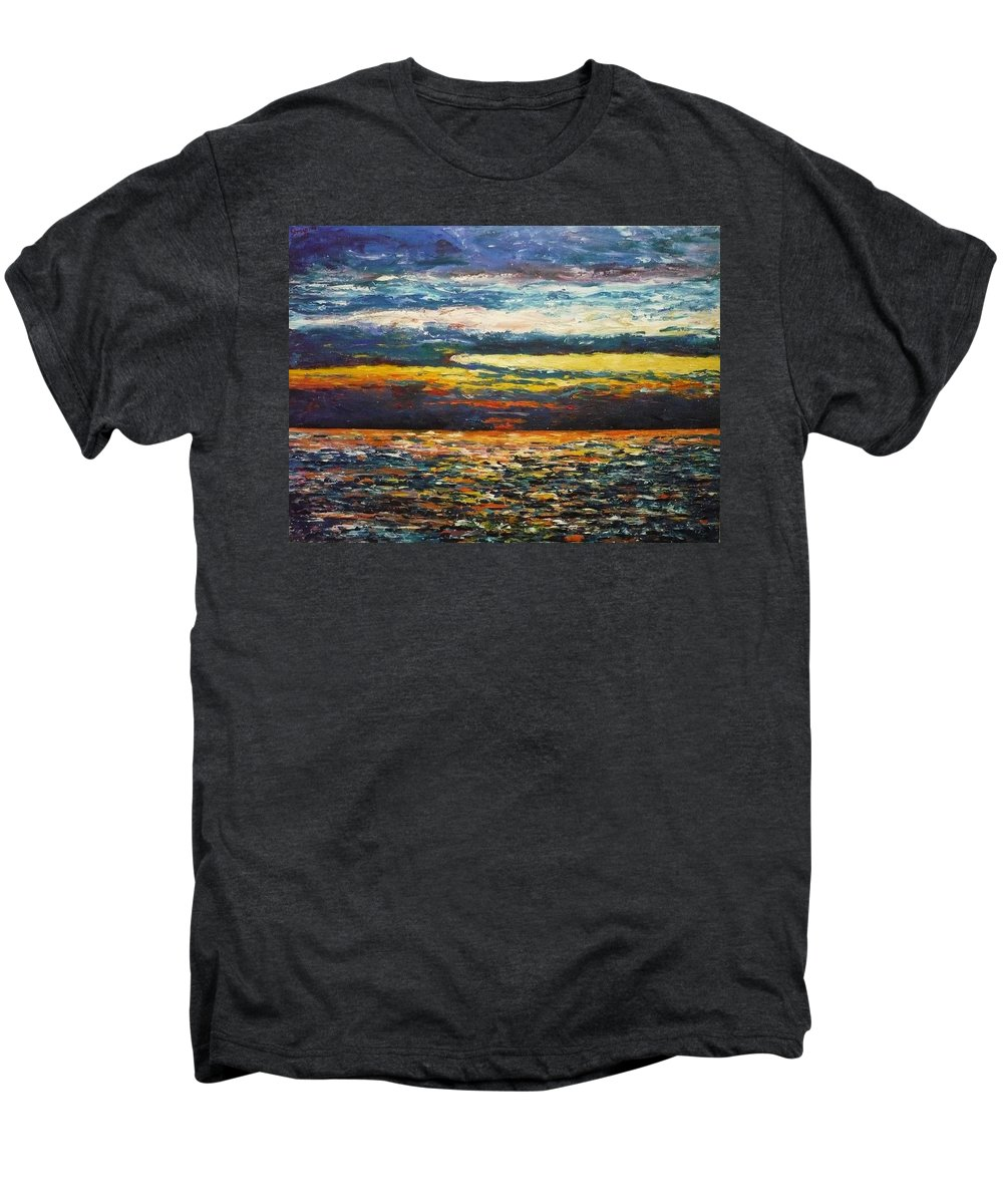 Landscape Men's Premium T-Shirt featuring the painting Cold Sunset by Ericka Herazo