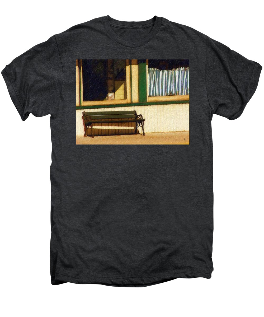 Bench Men's Premium T-Shirt featuring the photograph Come Sit A Spell by Sandy MacGowan