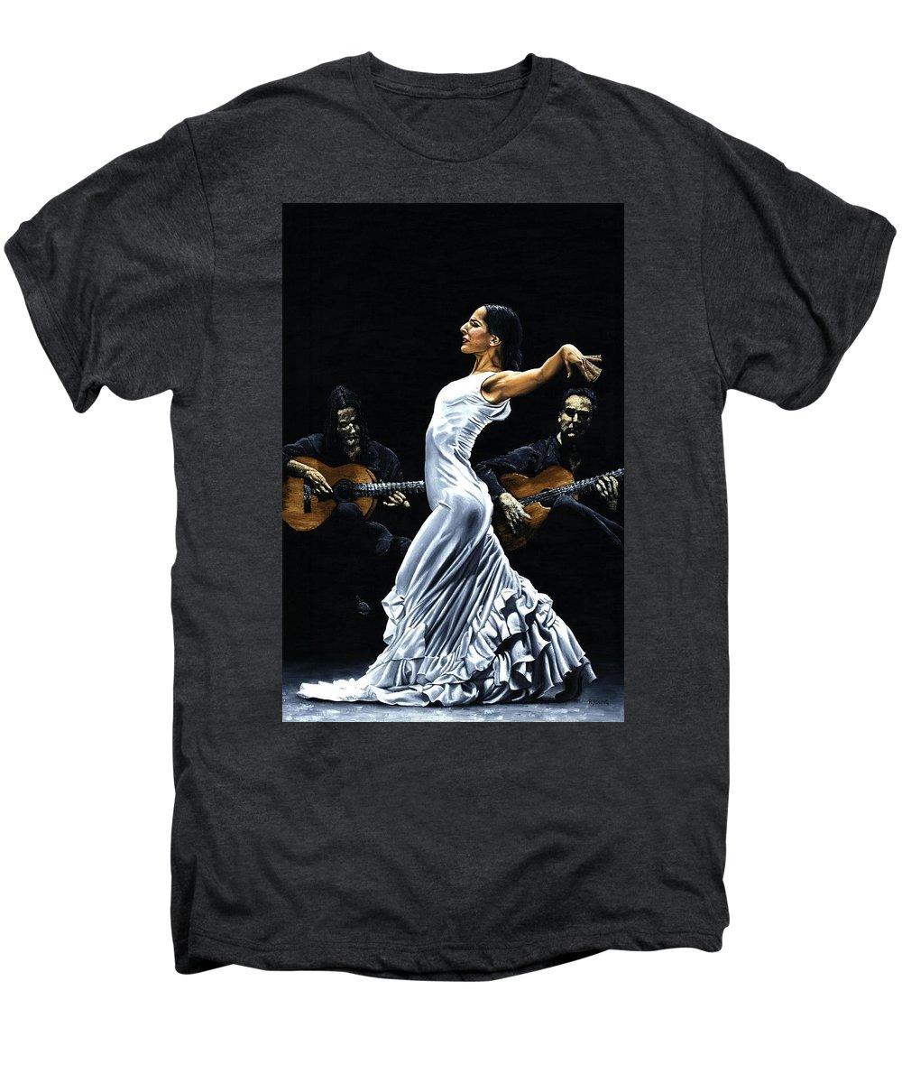 Flamenco Men's Premium T-Shirt featuring the painting Concentracion Del Funcionamiento Del Flamenco by Richard Young