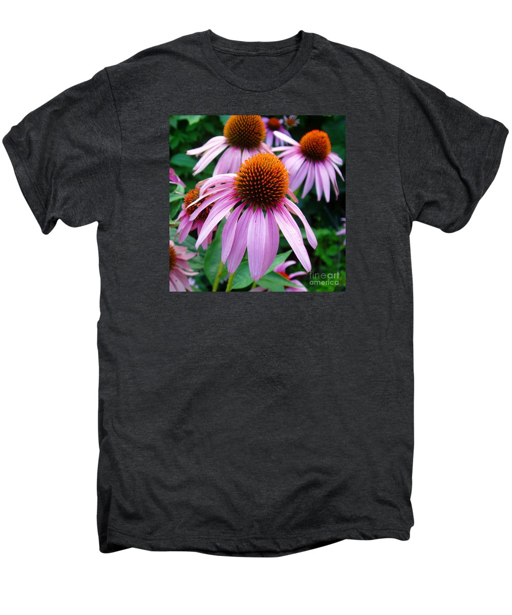 Coneflowers Men's Premium T-Shirt featuring the photograph Three Coneflowers by Nancy Mueller