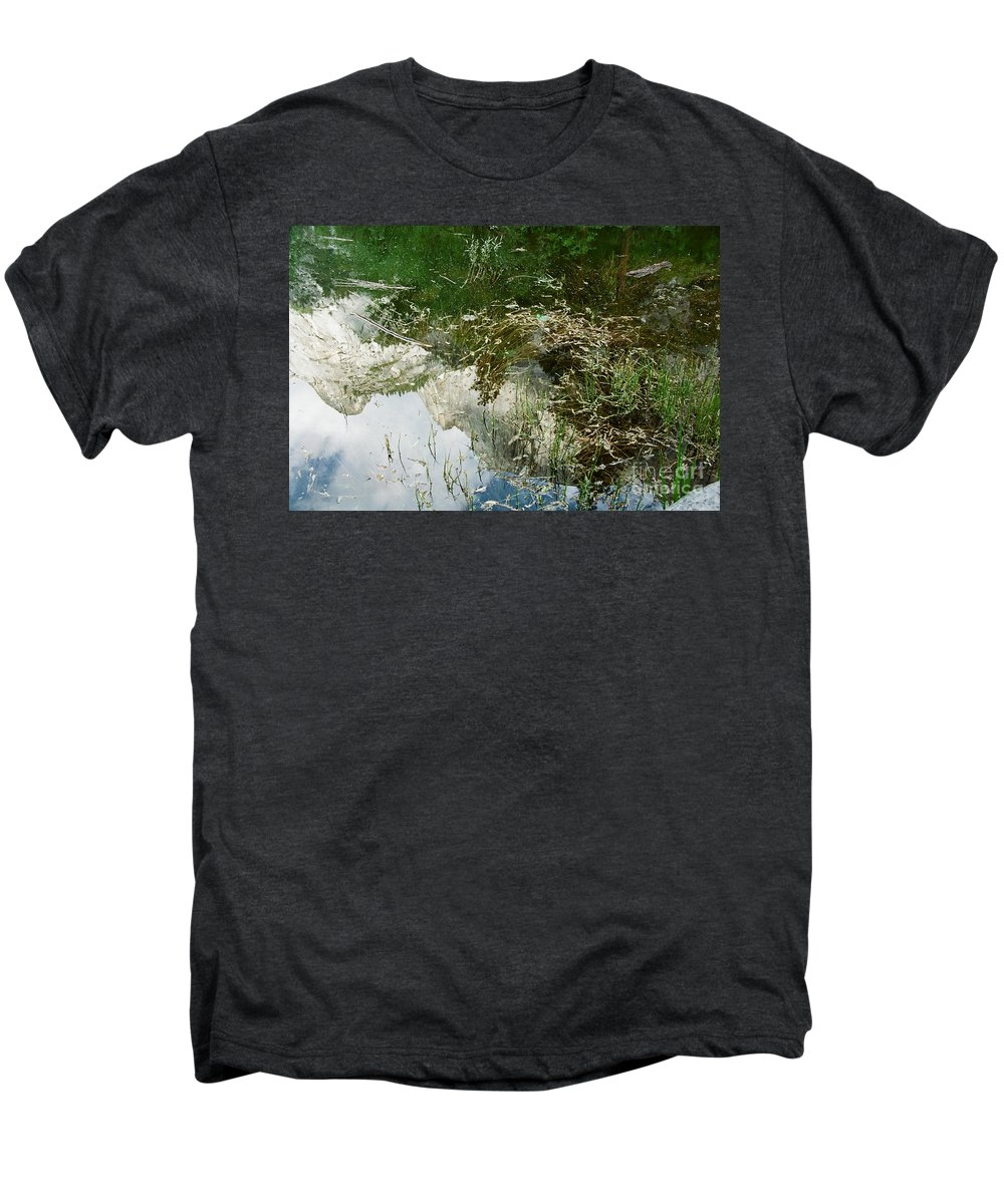 Mirror Lake Men's Premium T-Shirt featuring the photograph Confusion by Kathy McClure