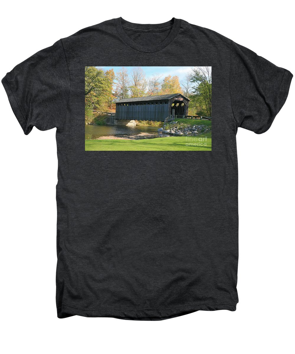 Covered Bridge Men's Premium T-Shirt featuring the photograph Covered Bridge by Robert Pearson