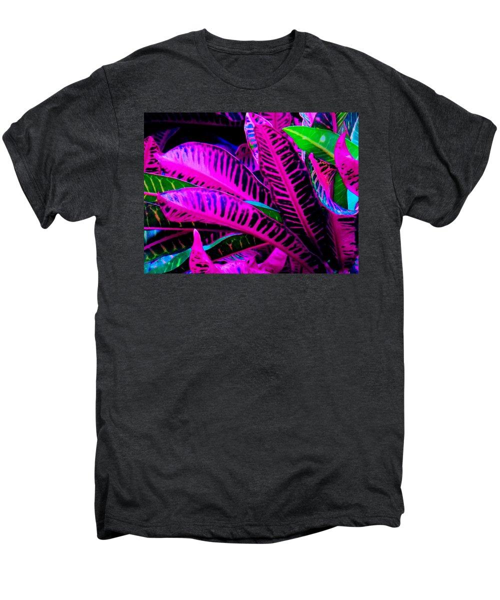 Croydon Plants Purple Green Men's Premium T-Shirt featuring the photograph Croton by Ian MacDonald