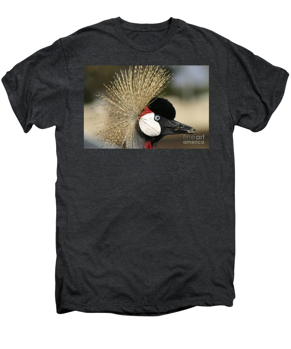 Crowned Men's Premium T-Shirt featuring the photograph Crown Crane Close Up by Danny Yanai