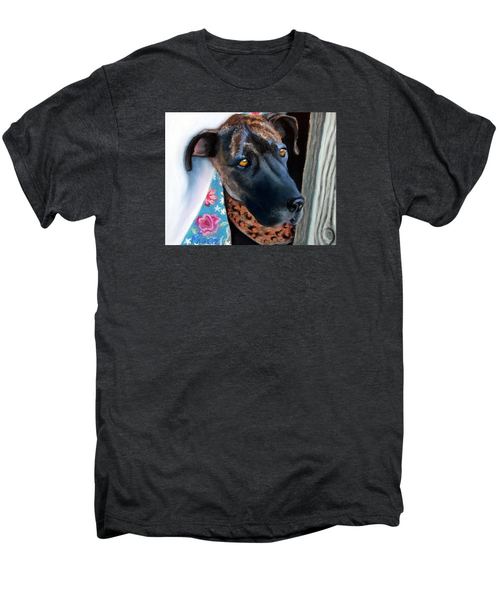 Great Dane Men's Premium T-Shirt featuring the painting Whats Going On? by Minaz Jantz