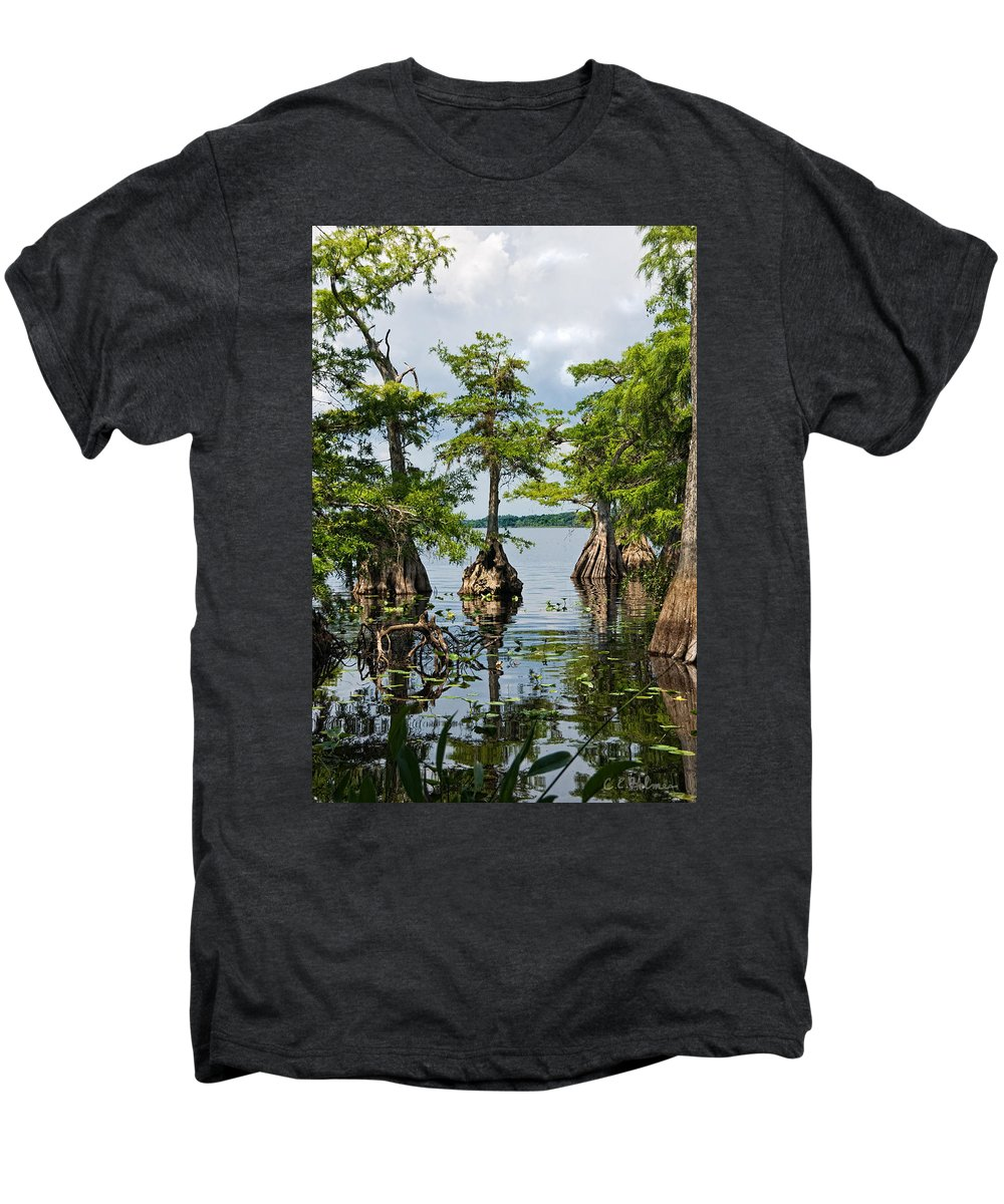 Trees Men's Premium T-Shirt featuring the photograph Cypress Reflections by Christopher Holmes