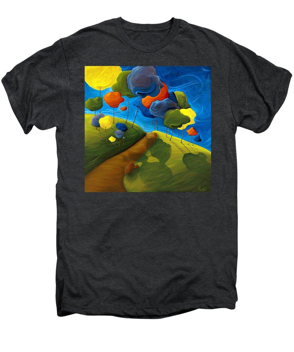 Landscape Men's Premium T-Shirt featuring the painting Dancing Shadows by Richard Hoedl