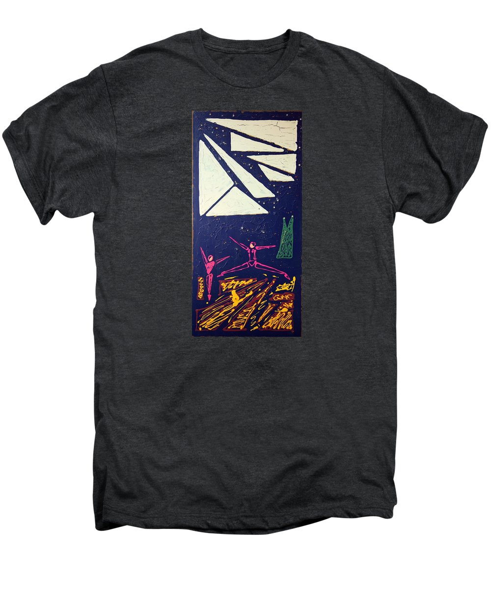 Dancers Men's Premium T-Shirt featuring the mixed media Dancing Under The Starry Skies by J R Seymour