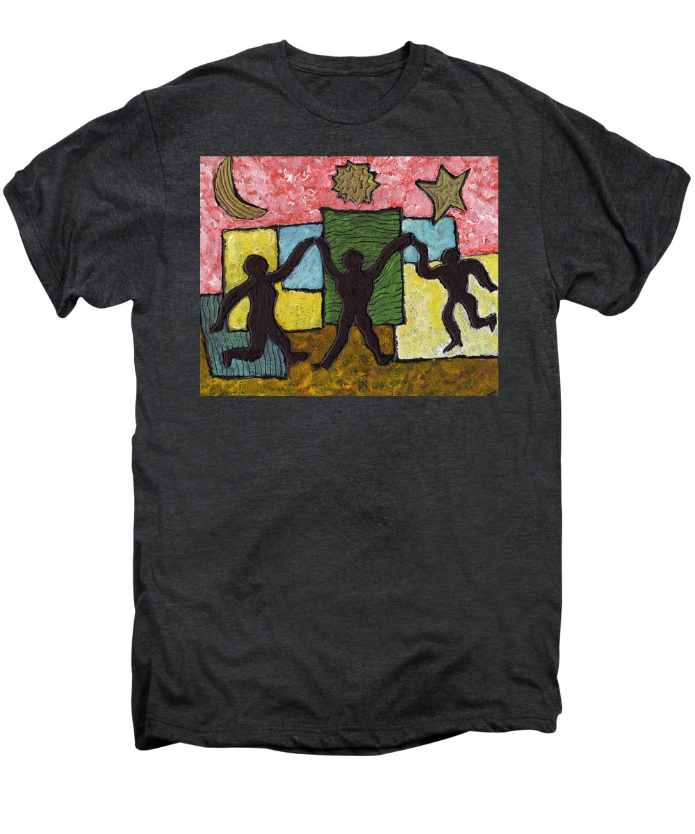 Dancing Men's Premium T-Shirt featuring the painting Dancing With The Stars...and The Sun And The Moon by Wayne Potrafka