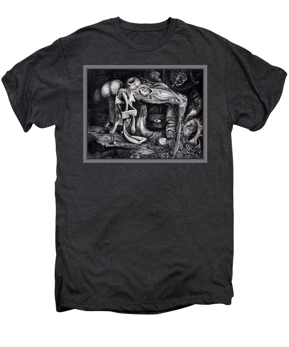 Drawing Men's Premium T-Shirt featuring the drawing Dark Surprise by Otto Rapp