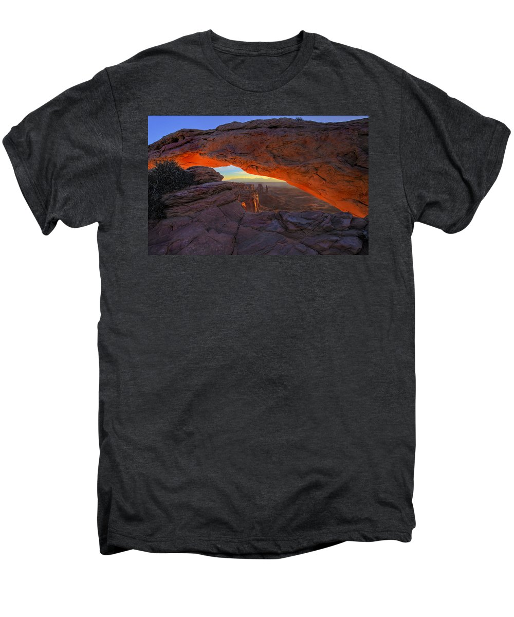 Mesa Arch Men's Premium T-Shirt featuring the photograph Dawns Early Light by Mike Dawson