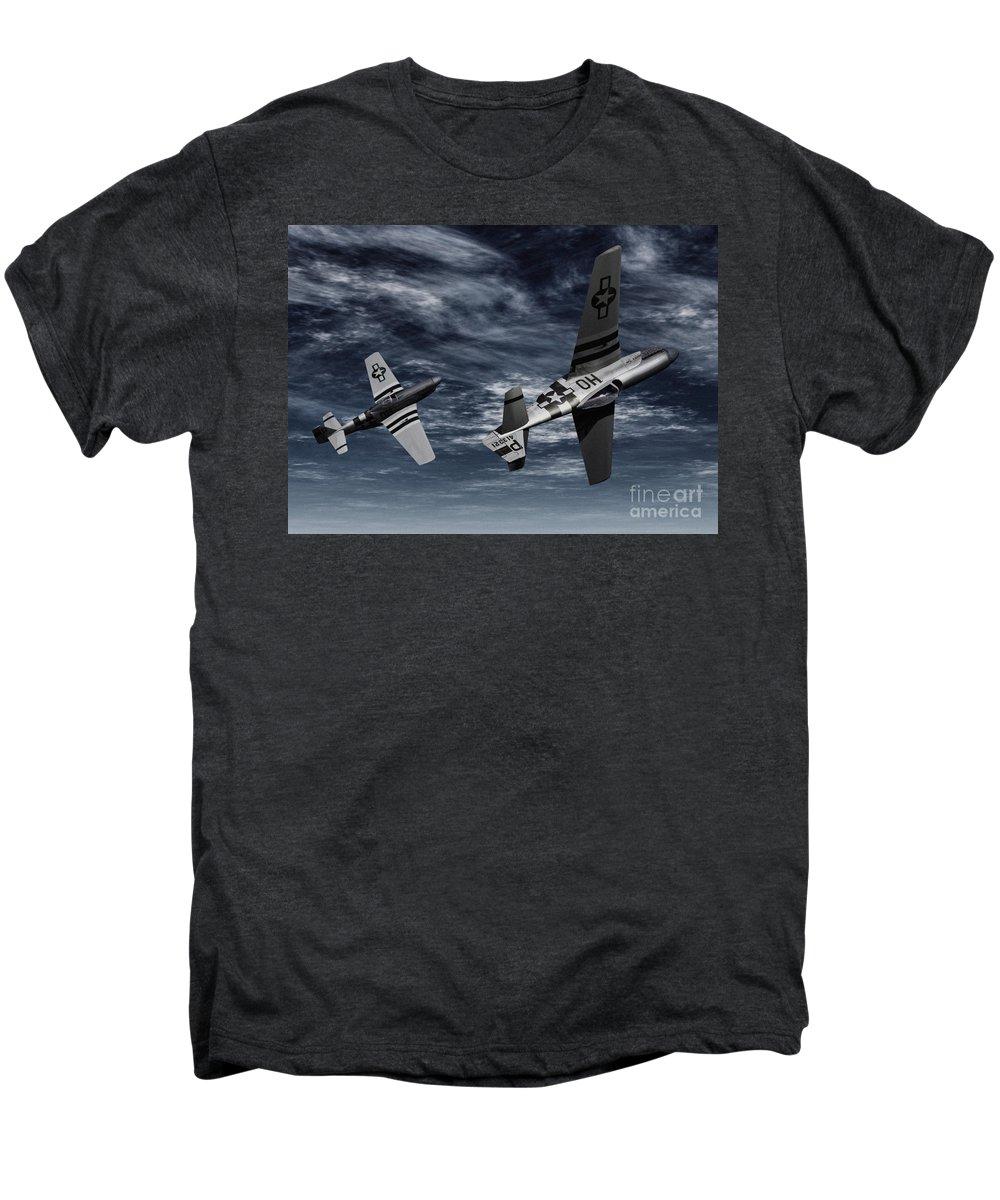 Aircombat Men's Premium T-Shirt featuring the digital art Defensive Split by Richard Rizzo