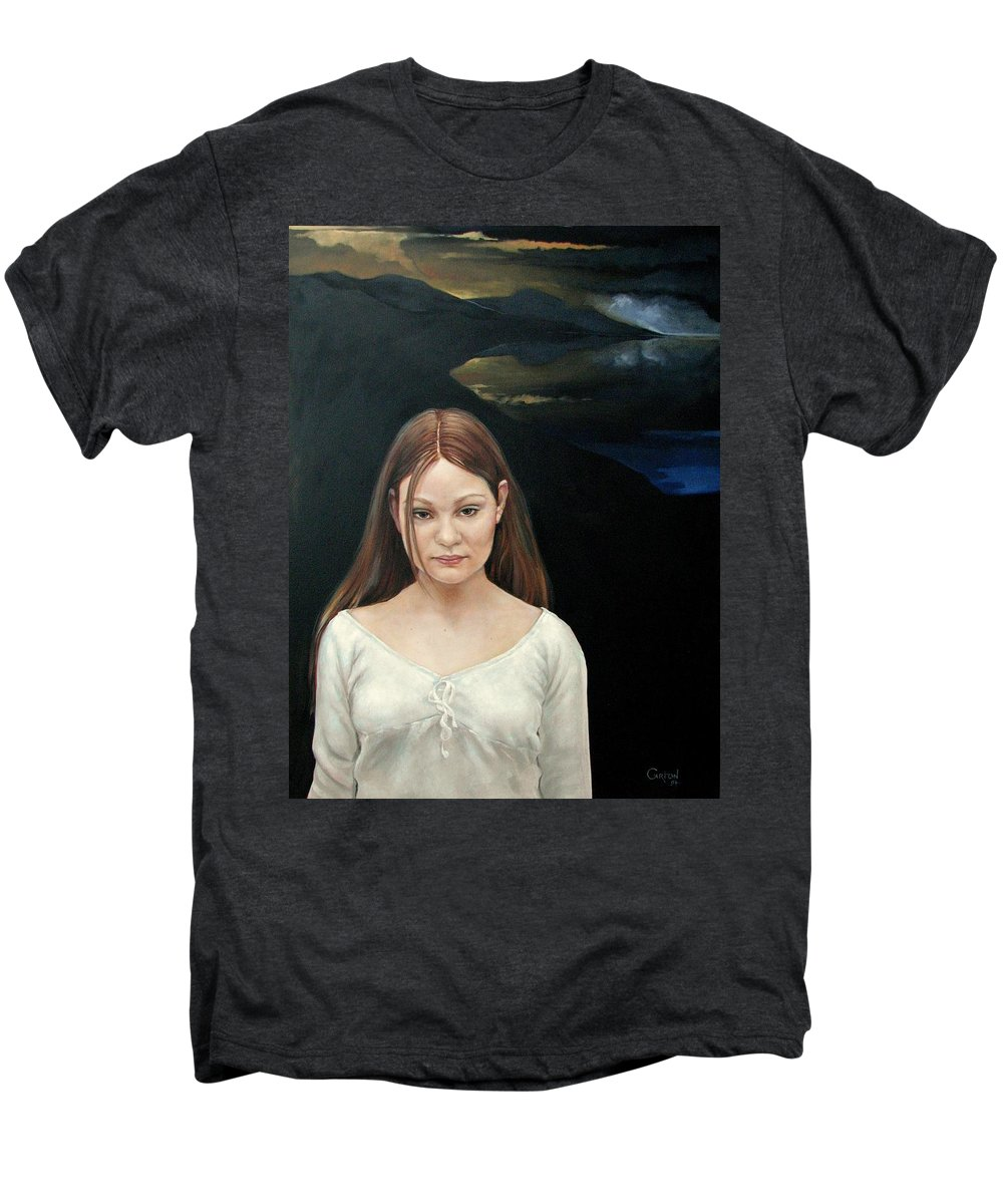 Facial Expressioin Men's Premium T-Shirt featuring the painting Defiant Girl 2004 by Jerrold Carton