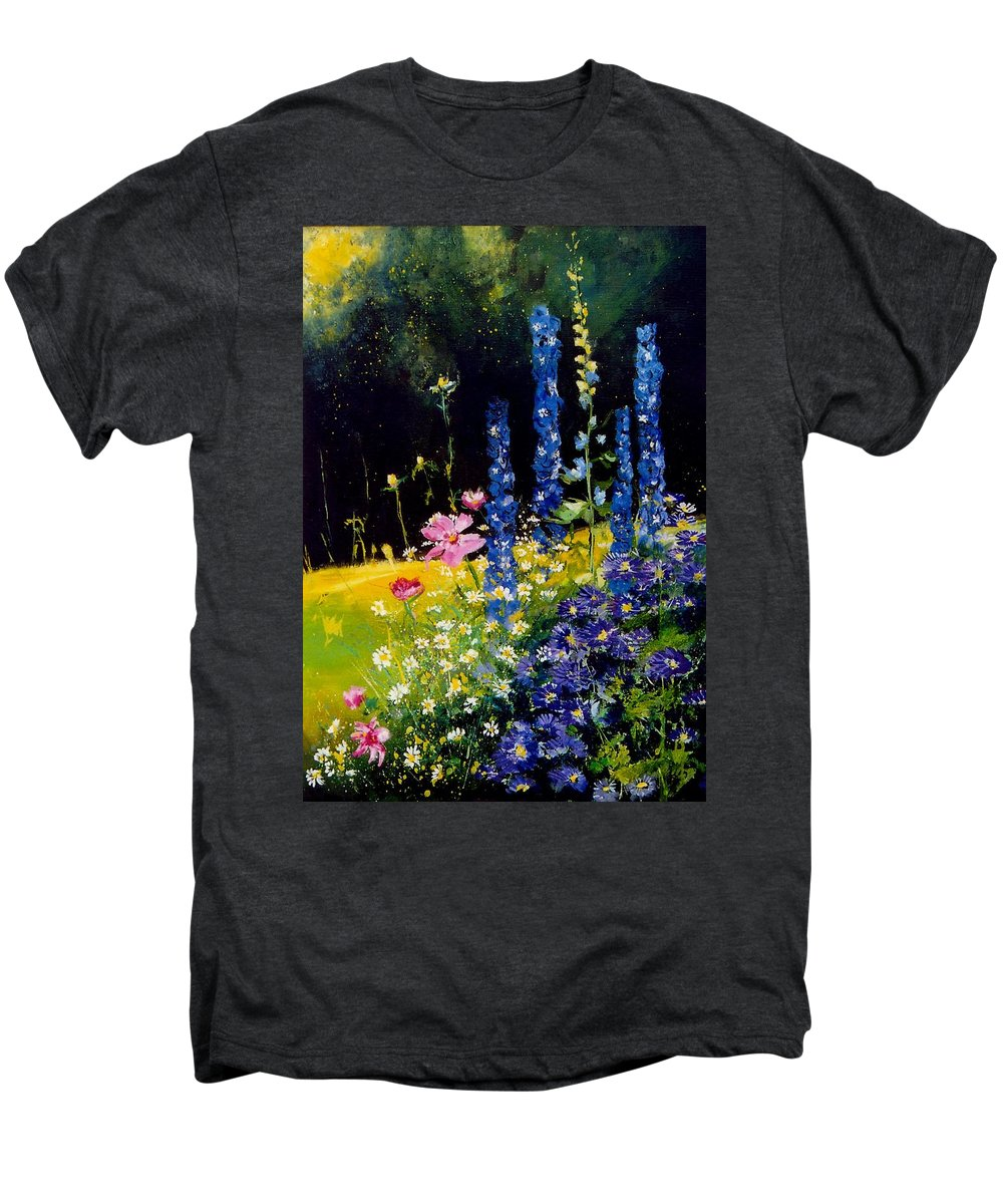 Poppies Men's Premium T-Shirt featuring the painting Delphiniums by Pol Ledent