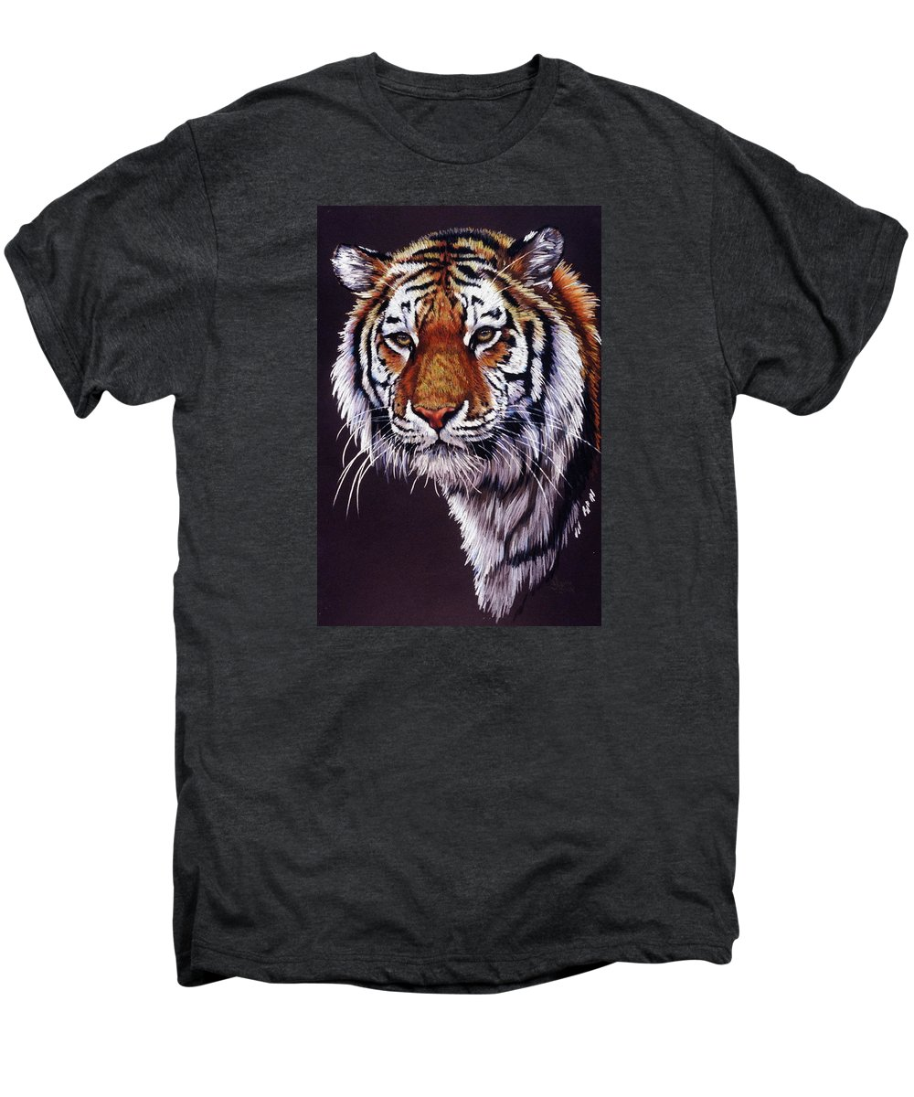 Tiger Men's Premium T-Shirt featuring the drawing Desperado by Barbara Keith
