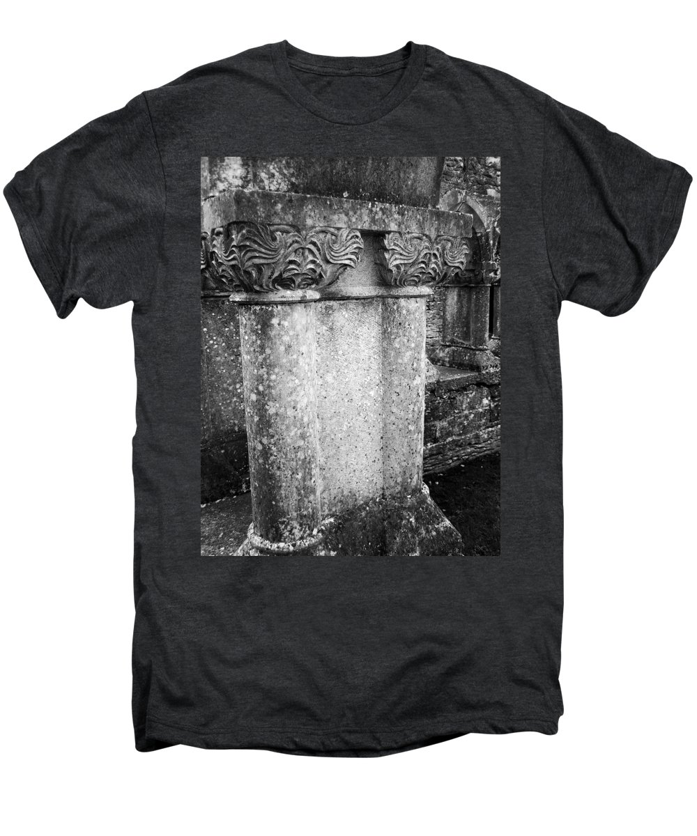 Irish Men's Premium T-Shirt featuring the photograph Detail Of Capital Of Cloister At Cong Abbey Cong Ireland by Teresa Mucha