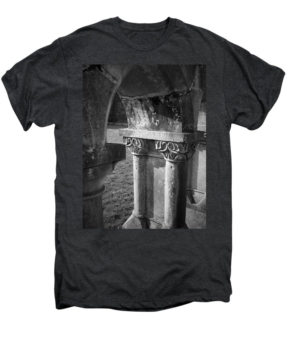 Irish Men's Premium T-Shirt featuring the photograph Detail Of Cloister At Cong Abbey Cong Ireland by Teresa Mucha