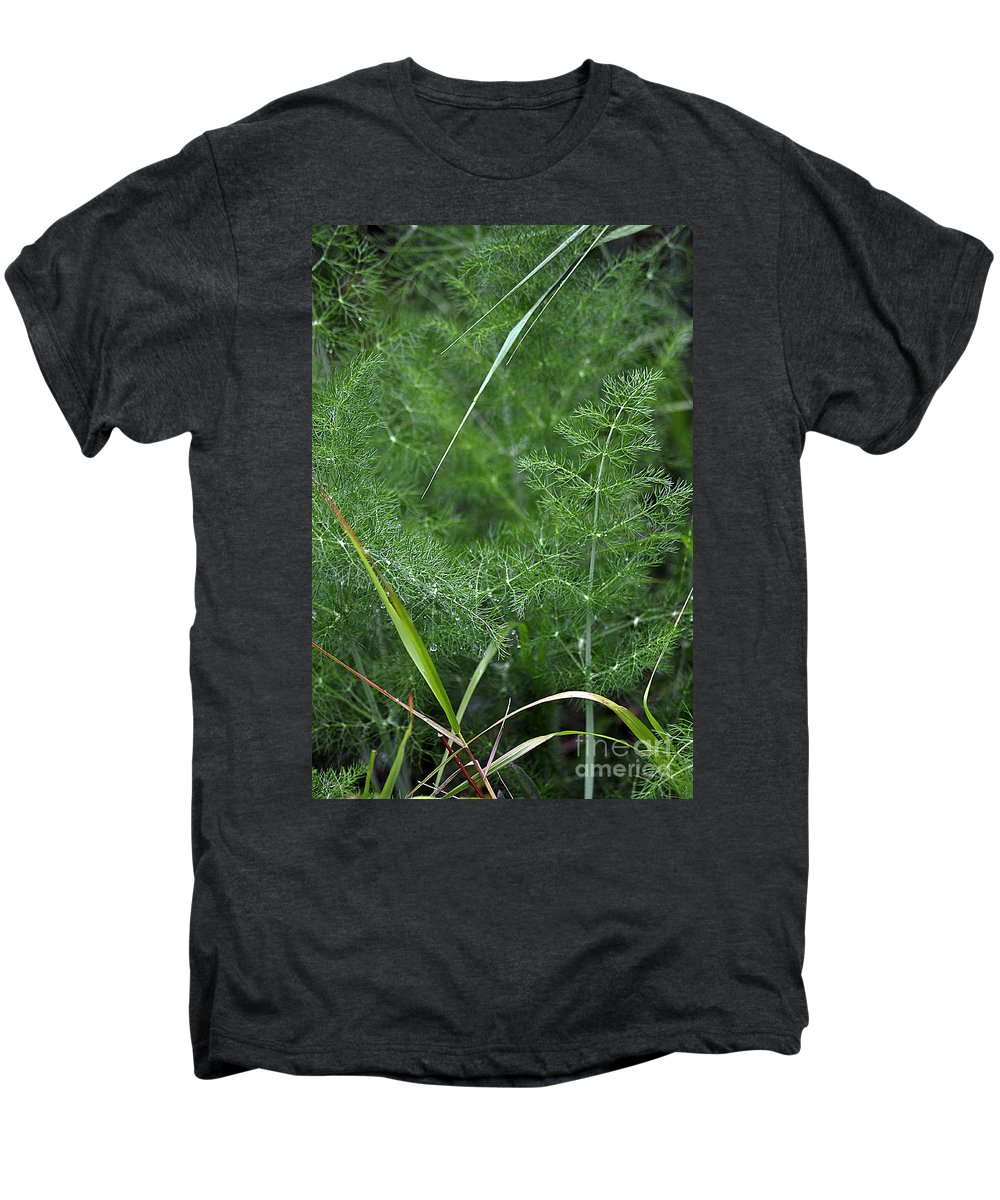 Clay Men's Premium T-Shirt featuring the photograph Dew On The Ferns by Clayton Bruster