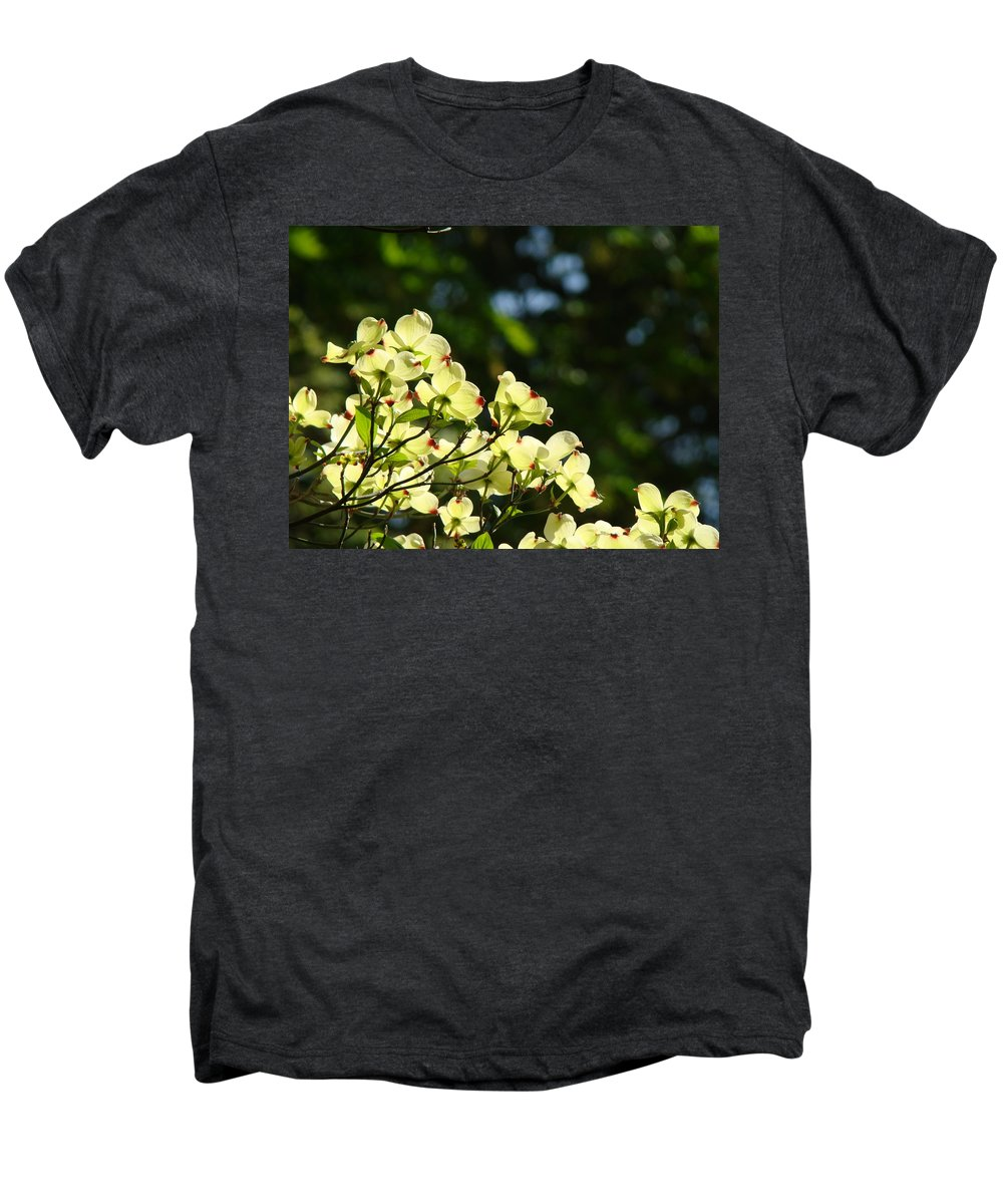 Dogwood Men's Premium T-Shirt featuring the photograph Dogwood Flowers White Dogwood Tree Flowers Art Prints Cards Baslee Troutman by Baslee Troutman
