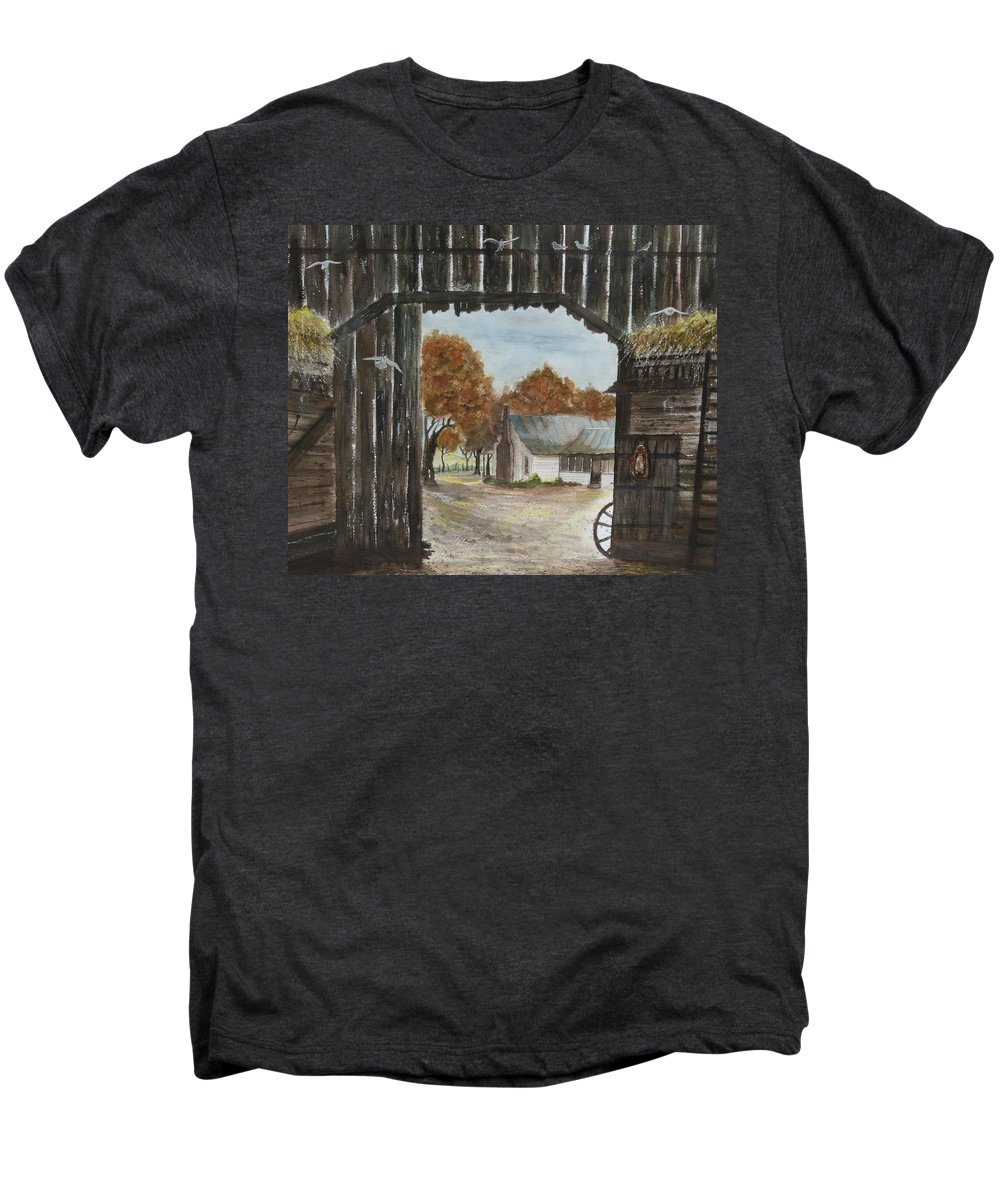 Grandpa And Grandma's Homeplace Men's Premium T-Shirt featuring the painting Down Home by Ben Kiger