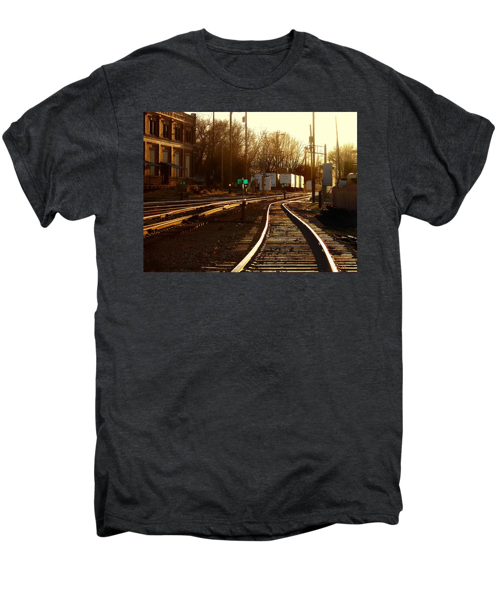 Landscape Men's Premium T-Shirt featuring the photograph Down The Right Track 2 by Steve Karol