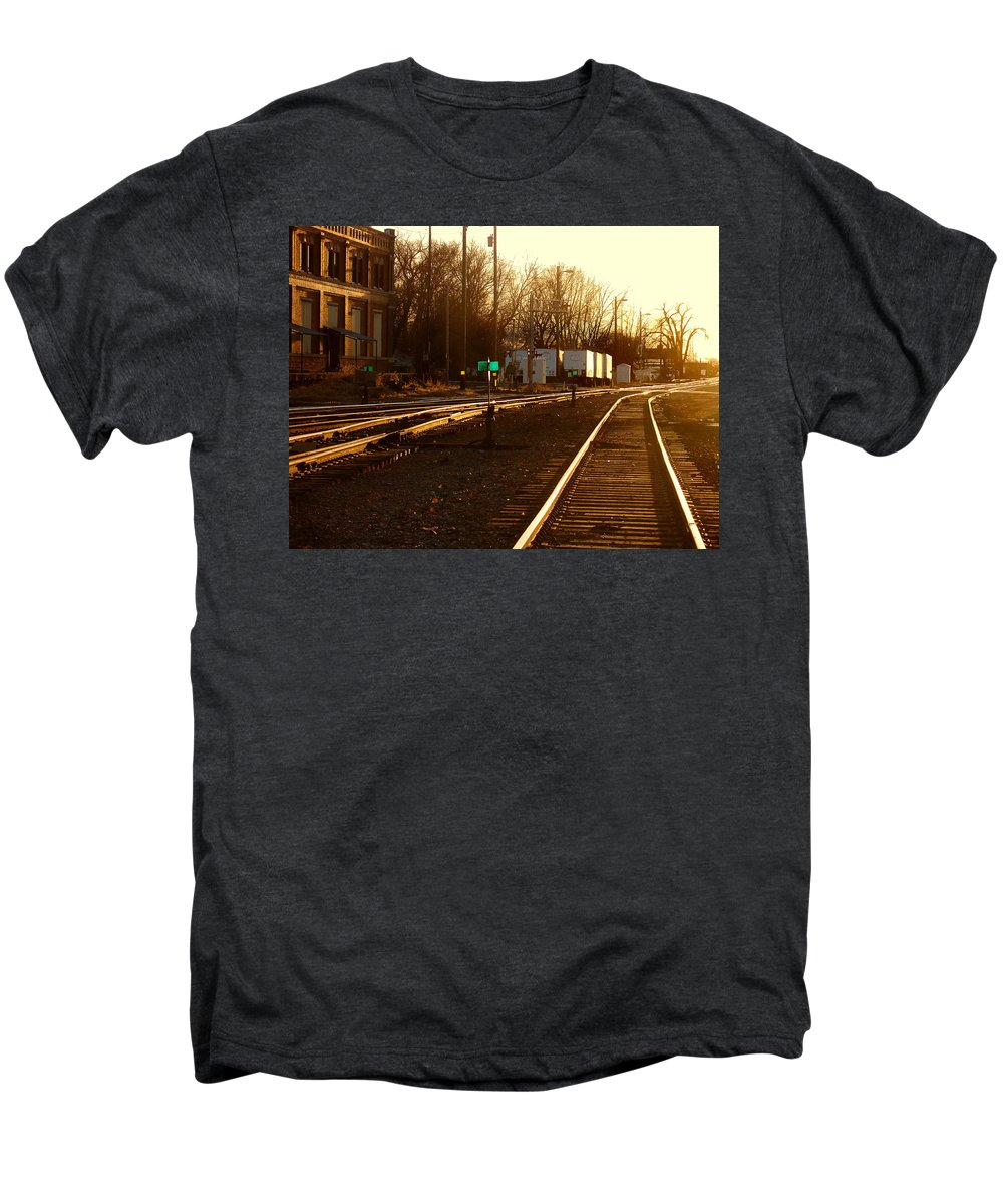 Landscape Men's Premium T-Shirt featuring the photograph Down The Right Track by Steve Karol