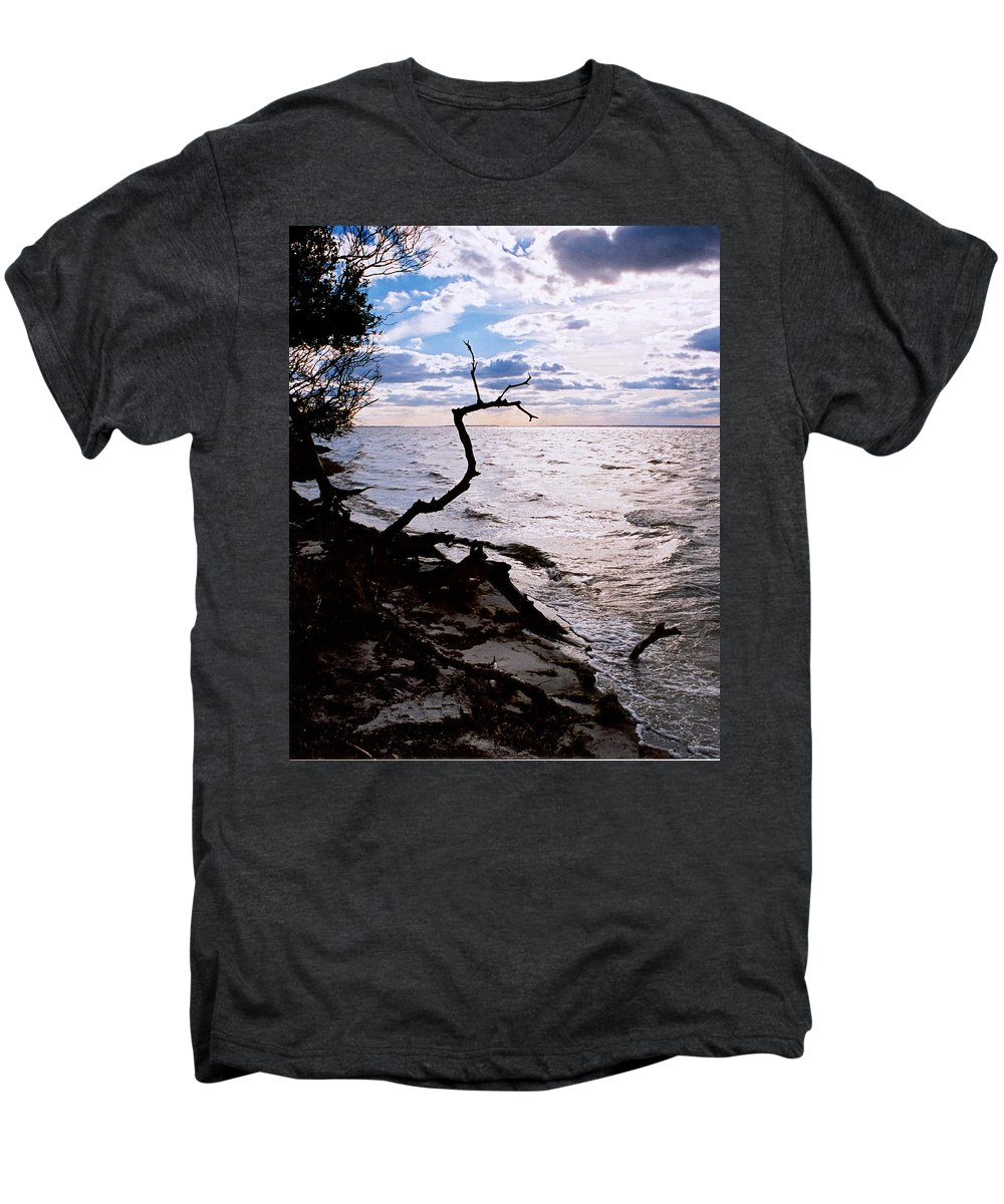Barnegat Men's Premium T-Shirt featuring the photograph Driftwood Dragon-barnegat Bay by Steve Karol