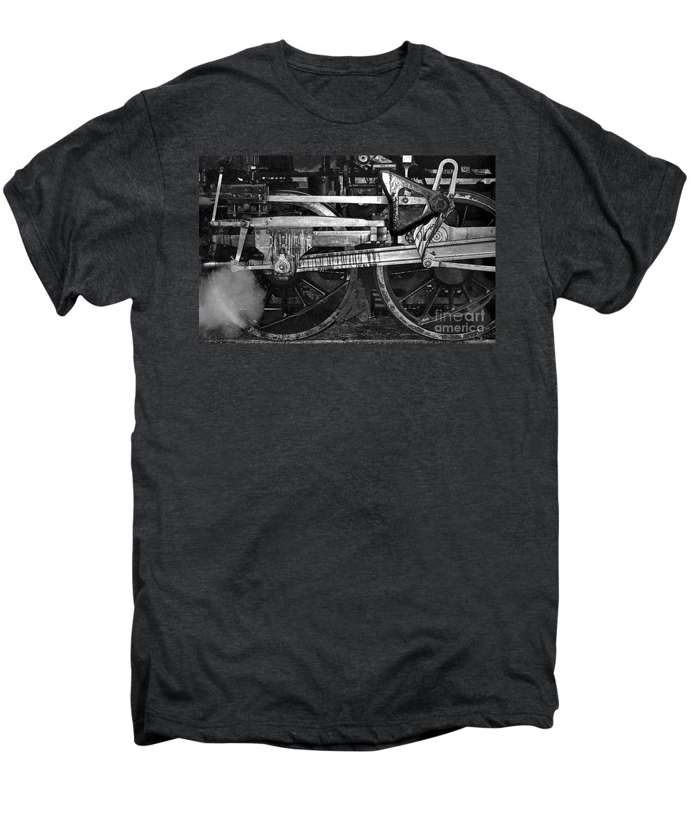 Trains Men's Premium T-Shirt featuring the photograph Driving Wheels by Richard Rizzo