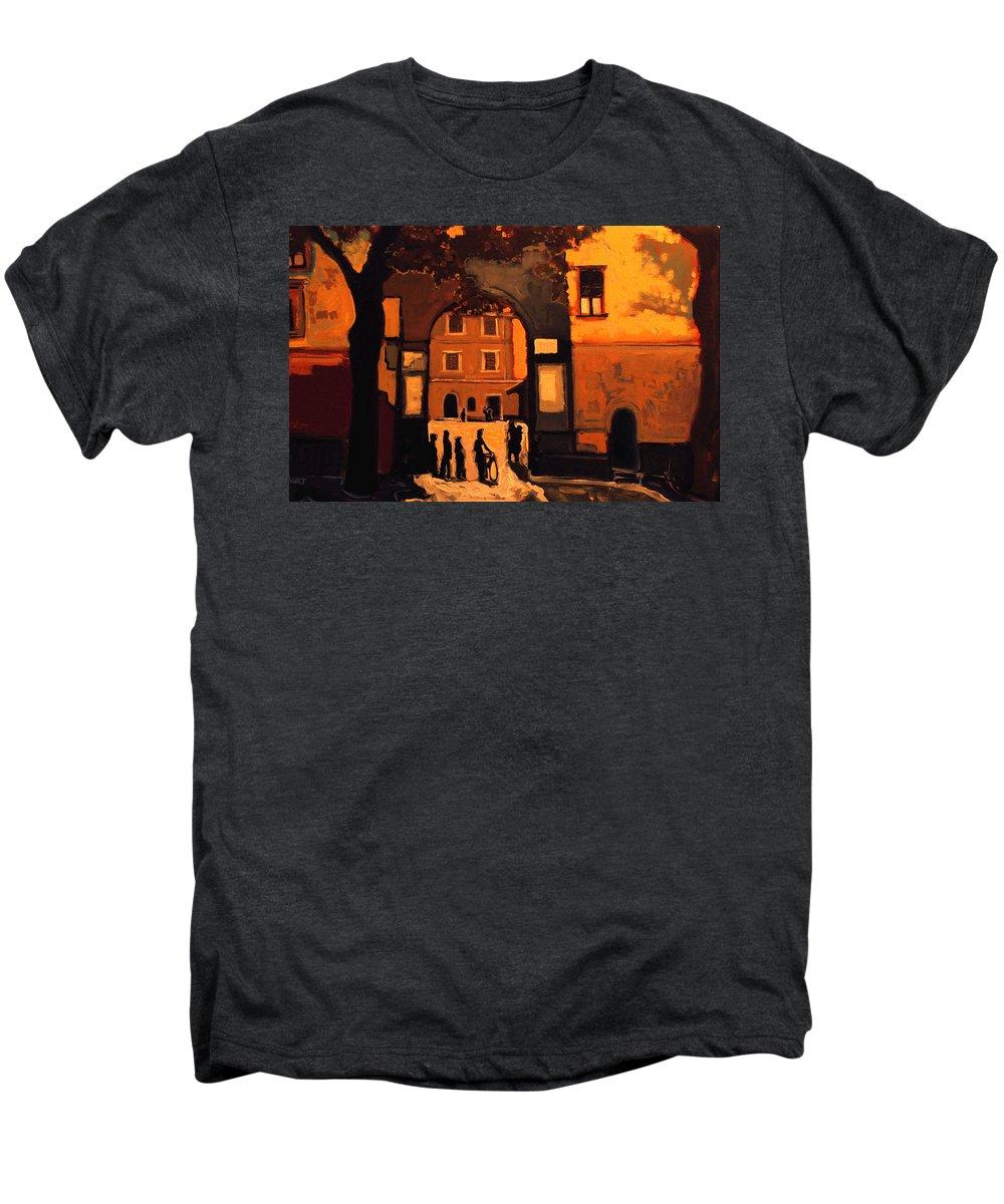 Cityscape Men's Premium T-Shirt featuring the painting Dusk by Kurt Hausmann