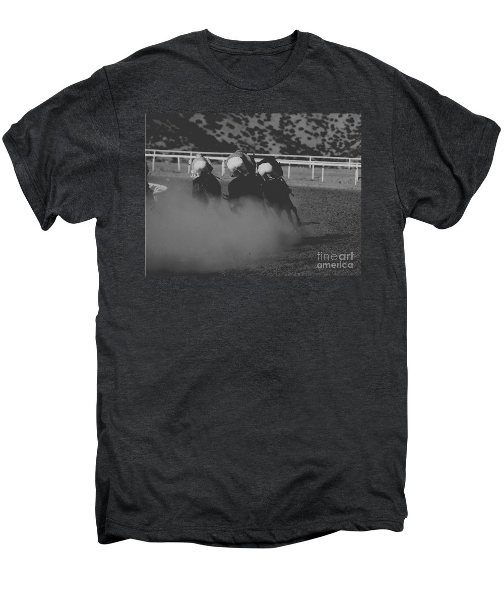 Horse Men's Premium T-Shirt featuring the photograph Dust And Butts by Kathy McClure