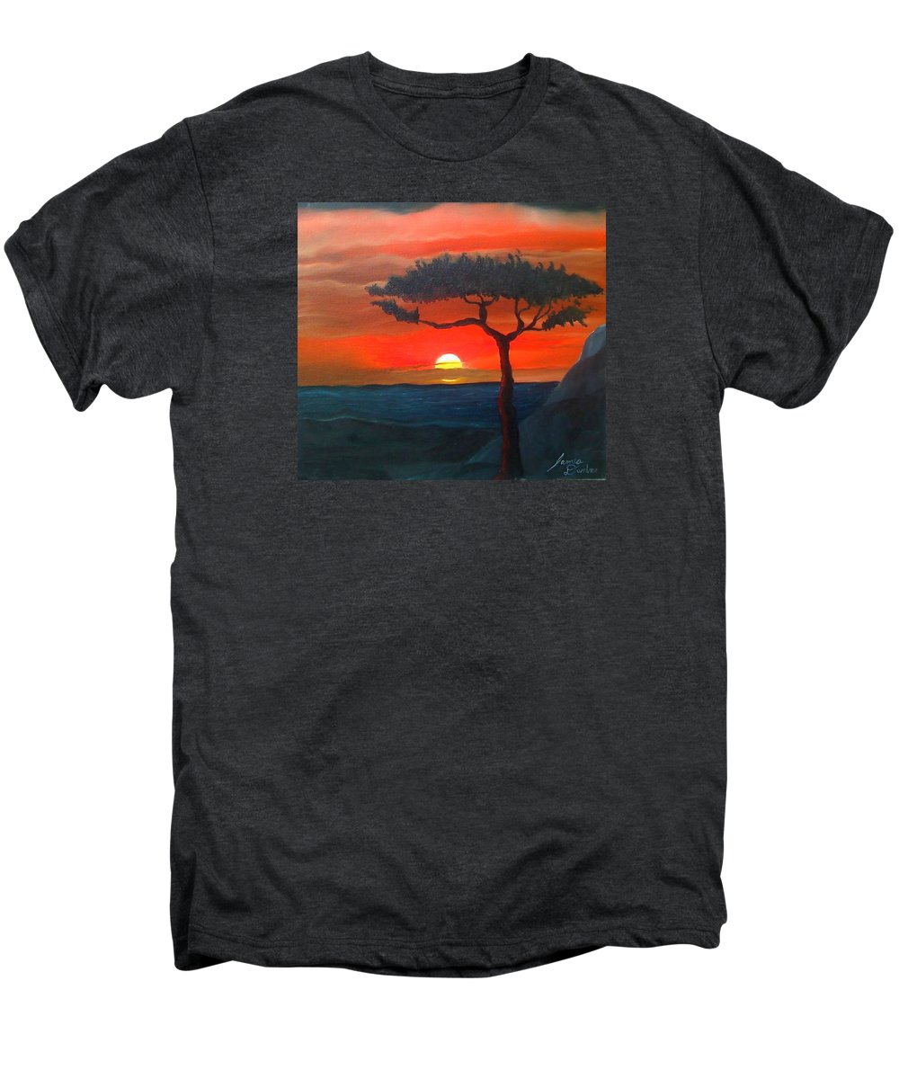 Africa! Men's Premium T-Shirt featuring the painting East African Sunset by Portland Art Creations