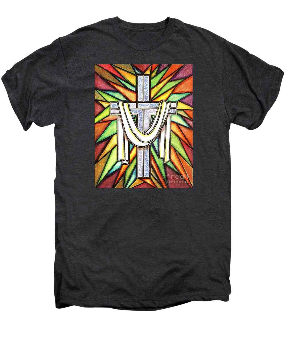 Cross Men's Premium T-Shirt featuring the painting Easter Cross 5 by Jim Harris