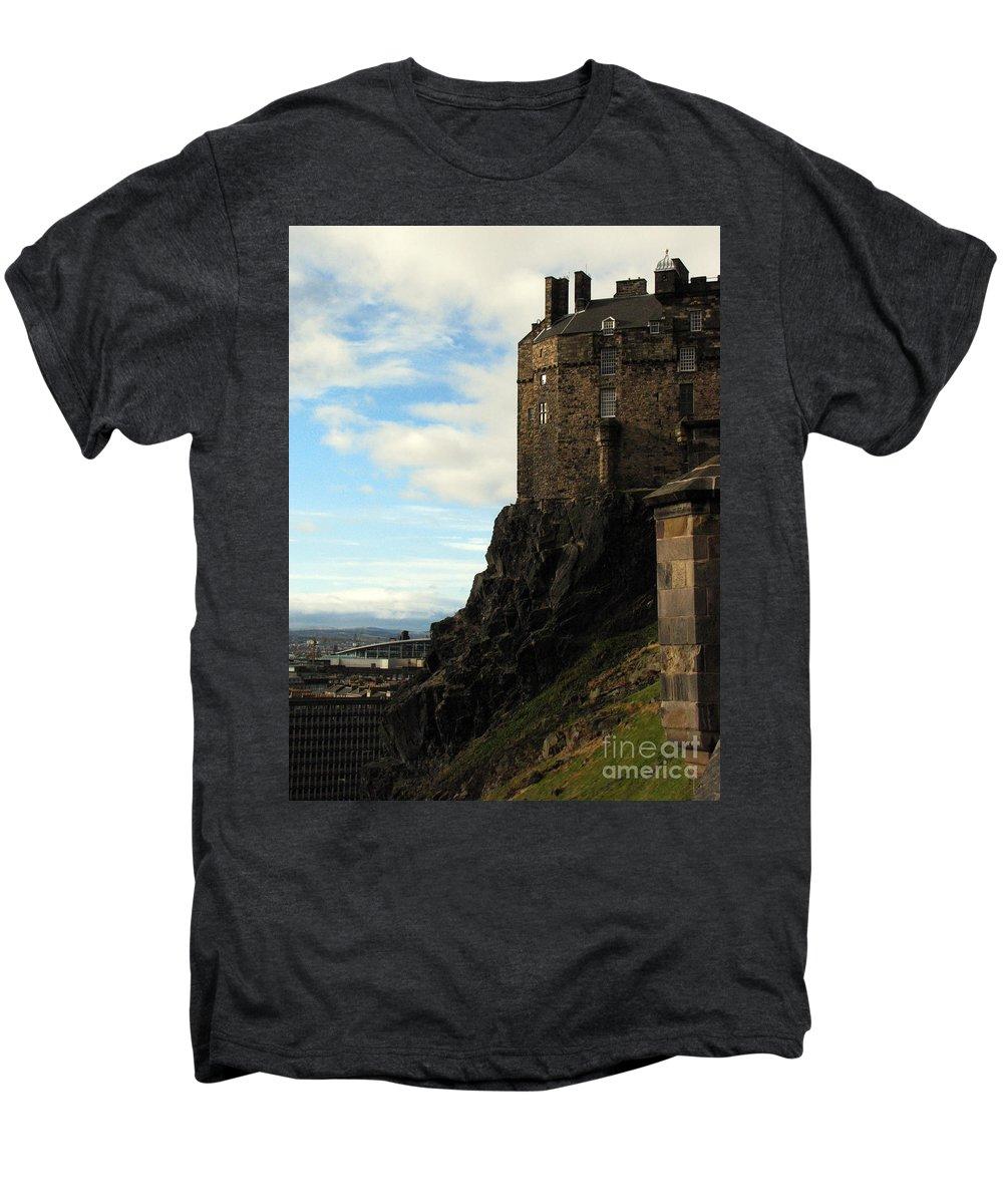 Castle Men's Premium T-Shirt featuring the photograph Edinburgh Castle by Amanda Barcon