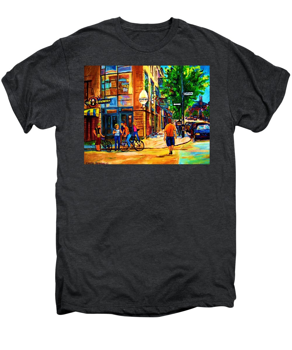 Eggspectation Cafe On Esplanade Men's Premium T-Shirt featuring the painting Eggspectation Cafe On Esplanade by Carole Spandau