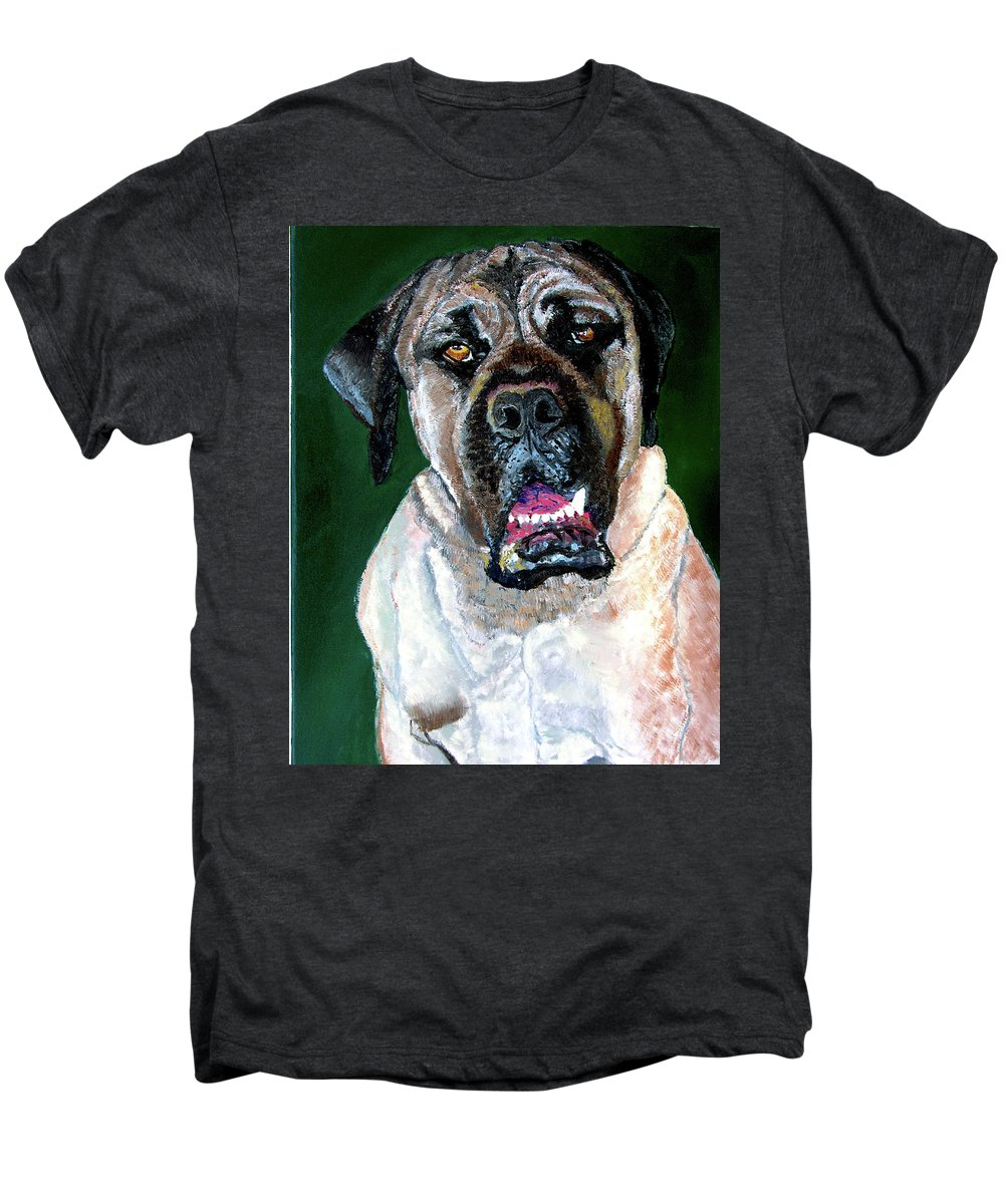 Dog Portrait Men's Premium T-Shirt featuring the painting Ely by Stan Hamilton