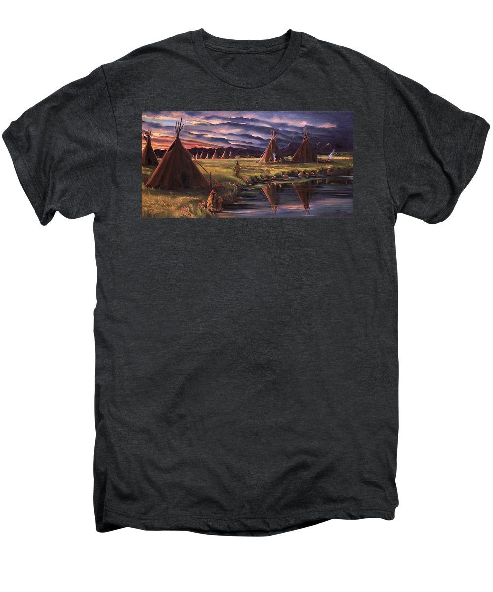 Native American Men's Premium T-Shirt featuring the painting Encampment At Dusk by Nancy Griswold