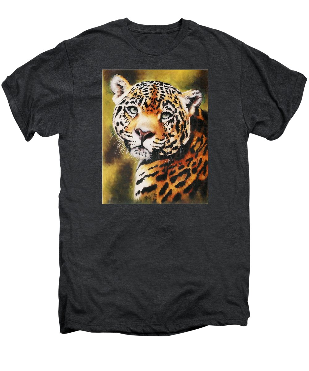 Jaguar Men's Premium T-Shirt featuring the pastel Enchantress by Barbara Keith