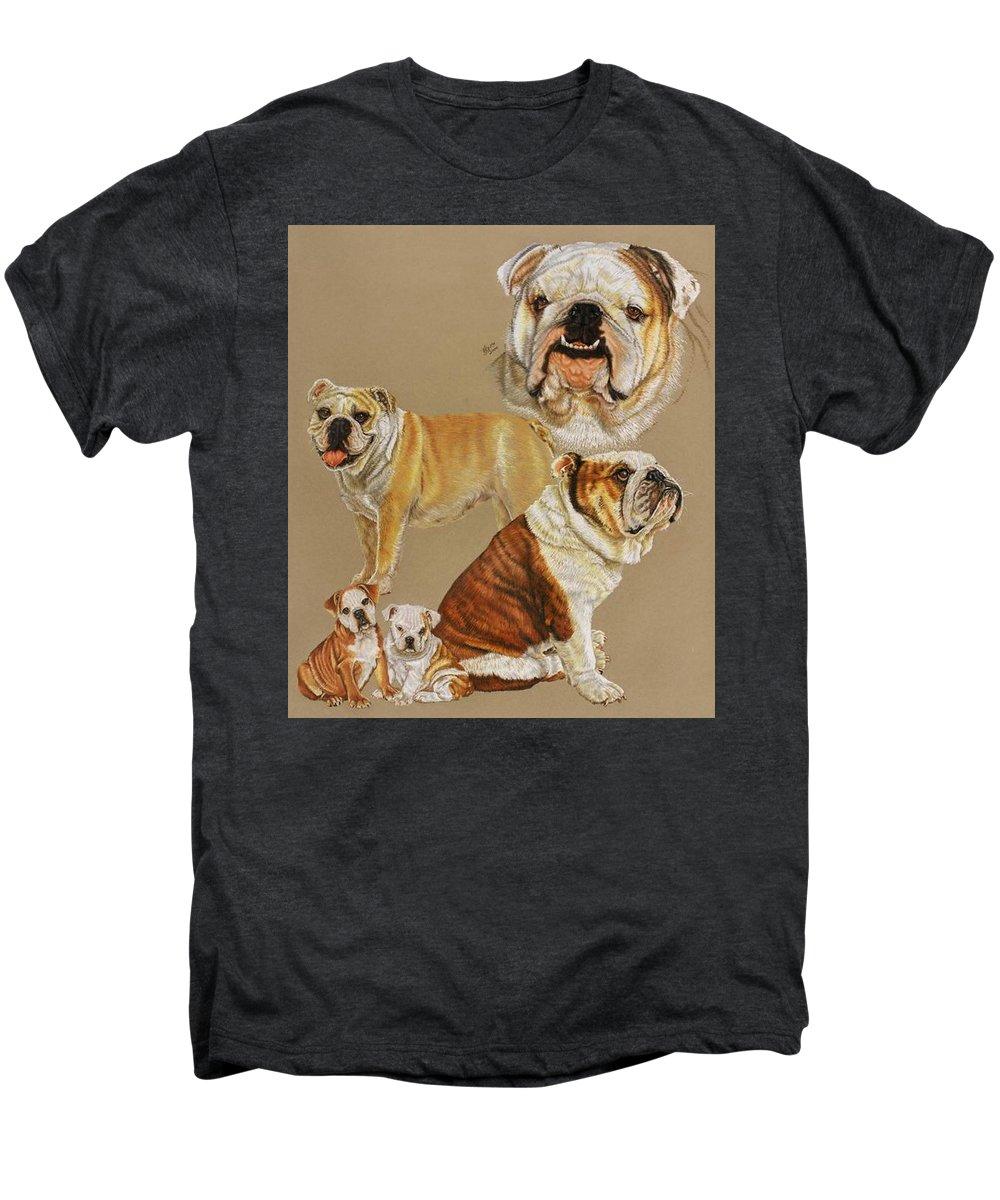 Dog Men's Premium T-Shirt featuring the drawing English Bulldog by Barbara Keith
