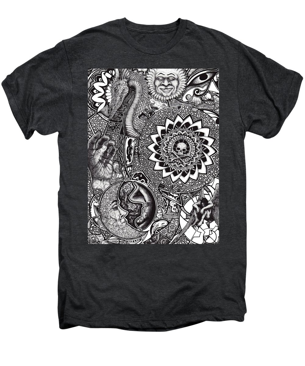 Black And White Men's Premium T-Shirt featuring the drawing Epiphany by Tobey Anderson